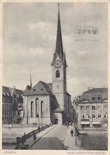 SW-Ansichtskarte Zürich - Fraumünsterkirche, echt gelaufen nach Berlin 1933