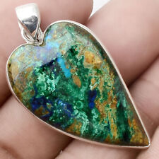 Heart - Azurite Chrysocolla 925 Sterling Silver Pendant Jewelry PP51120