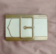 Vintage COTY Powder Compact Belt Buckle WHITE ENAMEL