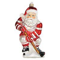 Hockey Player Santa Polish Mouth Blown Glass Christmas Ornament Tree Decoration