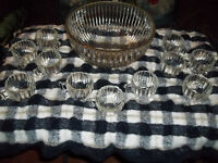 Jeannette Glass Clear Punch Bowl Set National Pattern 11 Cups And Punch Bowl