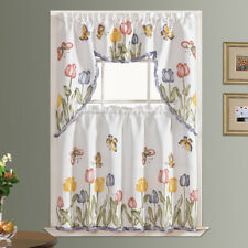 3pcs Kitchen curtain set spray painted TULIP & BUTTERFLY design