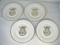 """Set of 4 Christmas """"Ornament"""" Salad Size Plates White w/Gold"""