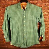 Herringbone Naturals Mens Medium Blue Plaid Long Sleeve Button Front Shirt