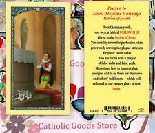 Saint Aloysius - Prayer to St. Aloysius Gonzaga - Laminated Holy Card