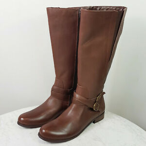 [ SAN JACINTO ] Womens Brown Wide-calf Leather Boots NEW   Size 11 W