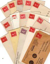 Uncanceled Old Classic Stamps on 15 Business Envelopes- 2 Scans