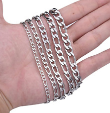 Solid 925 Sterling Silver Italian Figaro Link Chain Necklace for Women Men