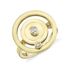 14K Yellow Gold Diamond Slider Ring Right Hand Spinner Round Oval Women Cocktail