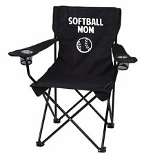 Softball Mom Black Folding Camping Chair with Carry Bag