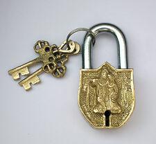 An unusual Genuine Brass Made Auspicious RADHA KRISHNA PADLOCK 2 keys from India
