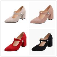 Size 34-46 Womens Ladies Work Dress Pointy Toe Block Mid Heels Shoes T-strap OL
