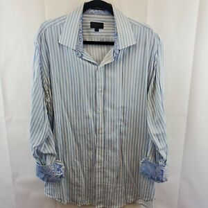 Haggar Fancy Western Shirt Button Up Mens XXL Blue Striped w/ Paisley Flip Cuff