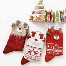 Knit 1 Pair Autumn Gift Women Christmas Wool Socks Elk Design Winter Warm
