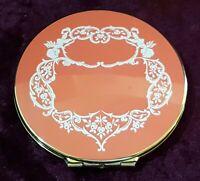 Stratton brass & orange enamel vintage Art Deco antique mirror compact box case