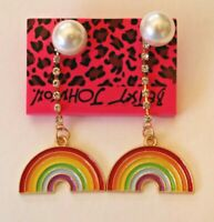 Betsey Johnson Crystal Rhinestone Enamel Pearl Rainbow Post Earrings