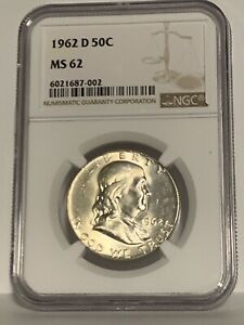 1962 D Silver Franklin Half Dollar MS62 NGC