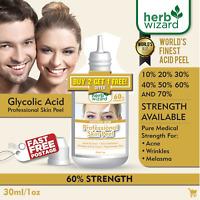 60% GLYCOLIC ACID Chemical Peel Kit Medical Grade 100% Pure! Acne-Scars-Wrinkles