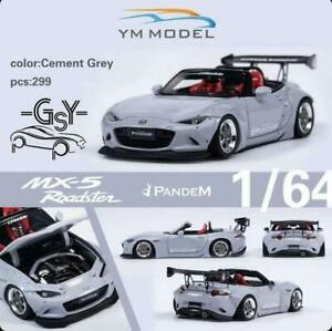 YM Model 1:64 Rocket Bunny MX-5 Roadster Cement Grey Resin Model