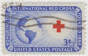 (USB4)1952 USA 3c blue Red Cross and globe ow1013