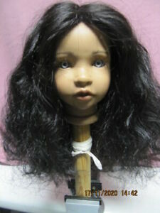 Puppenperücke, schwarz, KU 32-36 cm, Echthaar
