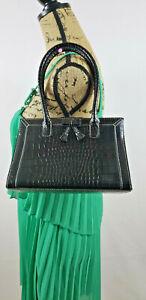 Liz Claiborne women's Patent Faux Leather small Black Shoulder Handbag D88