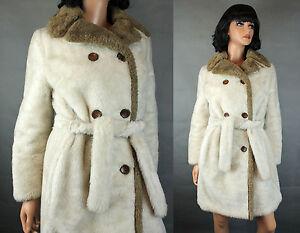 Vintage Trench Coat Sz M Off White Ivory Faux Fur Brown Trim Cathy Dee LA Sport
