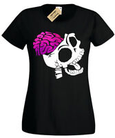 SKELETON BRAINS T-Shirt Womens rock goth skull ladies zombie biker