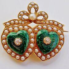 Victorian 15ct Oro Verde Esmalte, Diamond & Pearl 'Entrelazados Corazones'S Broche c1885