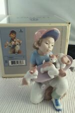 "Lladro ""Little Riders"" #7623 Figurine ~ Boy W/Skateboard & Kittens ~ Mint W/Box"