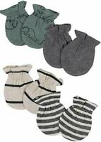 4 Pack Gerber 100% Certified Organic Cotton Baby Infant Boy Mittens Size 0-3 Mos