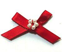 Pack of 20 - RED - Satin Ribbon Mini Pearl Bows 3cm / 7mm Ribbon Craft Christmas