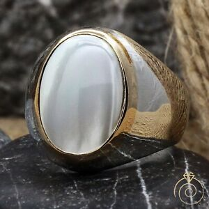 Natural White Stone Mens Promise Ring Handmade Silver Oval Anniversary Gift For