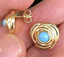Beautiful 18K Solid Gold Post earrings with Turquoise Made in Italy