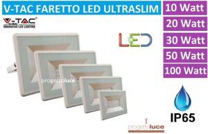 V-TAC FARO FARETTO LED SMD 10W 20W 30W 50W 100W ULTRA SLIM DA ESTERNO SOTTILE