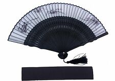 HIGH QUALITY White Silk Border Grass Leaves painted Hand Fan with Pouch HQF26