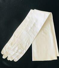 Vintage Leather Opera Gloves Pearl White Long Germany Van Raalte