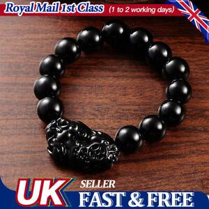 UK Black Feng Shui Obsidian Stone Pi Xiu Bracelet Attract Good Luck Wealth
