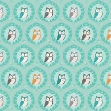 Michael Miller Les Amis by Patty Sloniger FD5796 Aqua Owls FLANNEL Cotton Fabric