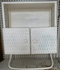 Vintage Wicker Cabinet Shelf With 2 Doors And Towel Bar, White