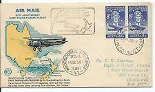 1958 Wcs 30th Ann 1st Trans-Tasman Crossing 2 x 8d stamps Nsw, Woodbourne Air Fo