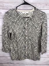 Ann Taylor LOFT Cardigan Sweater Knit Top Women's Petite Size SP Beige Black