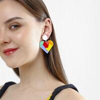 Women Boho Dangle Drop Stud Earring Acrylic Resin Hreat Earrings Jewelry Gift