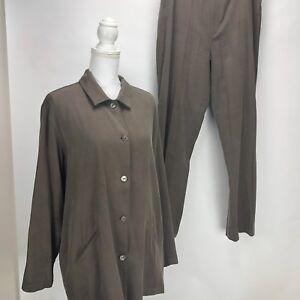 Chico's 2 pc Pant Suit 3/4 Sleeve Button Front Top Flat Front Pants Sz 3 Brown