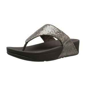 FitFlop Women Wedge Heel Thong Flip Flop Sandals Lulu Superglitz Bronze