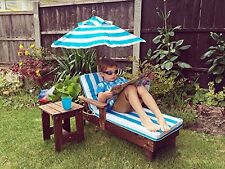 Kingfisher Kids Sun Lounger Set With Umbrella and Side Table Garden Summer NEW