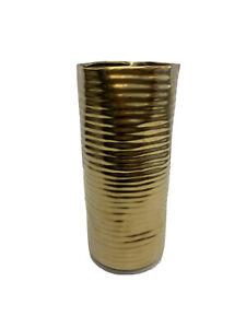 "West Elm Molton Brass Straight Vase Large: 6.25""diam. x 13.5""h OPEN Small mark"
