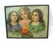 Vintage picture litho printIron frame w/ glass Three girls Faith Hope and Love