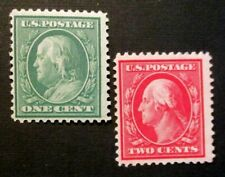 1910 US S# 374-75. 1c Franklin perf 12 green & 2c Washington Carmine, MNH, MPH*