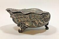 Vintage Metal/Pewter Footed Art Nouveau Trinket Box - Shell Shaped - Hinged Lid